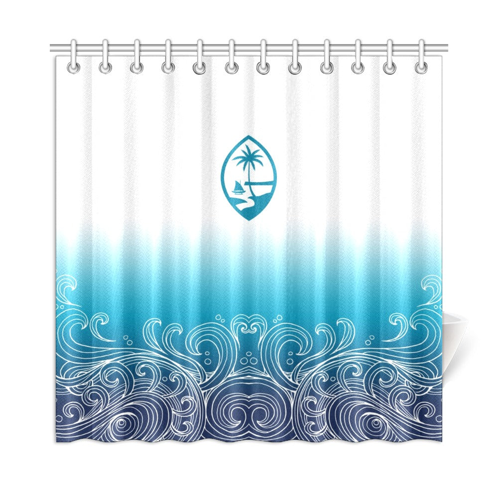"Guam Ombre Waves Shower Curtain 72""x72"""