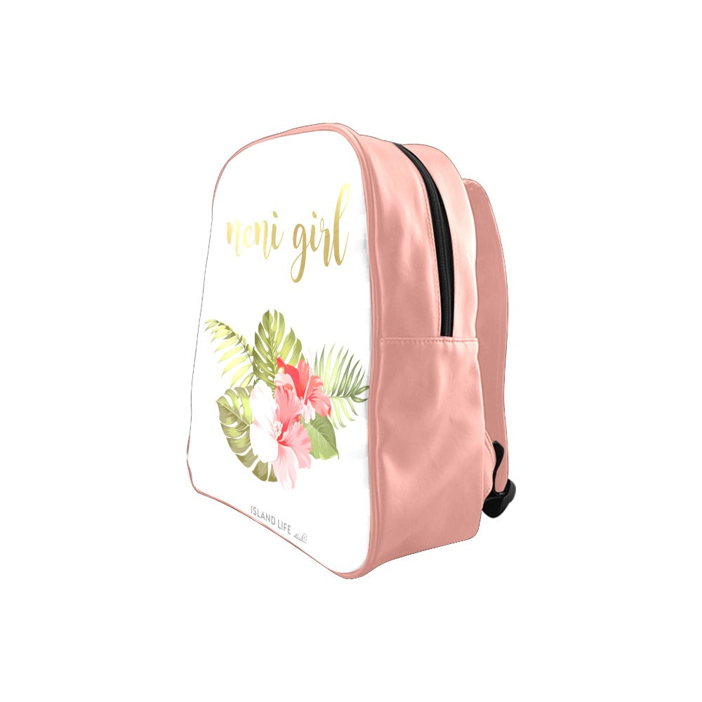 Neni Girl Chamorro Guam CNMI Saipan Faux Leather Pink Preschool Backpack