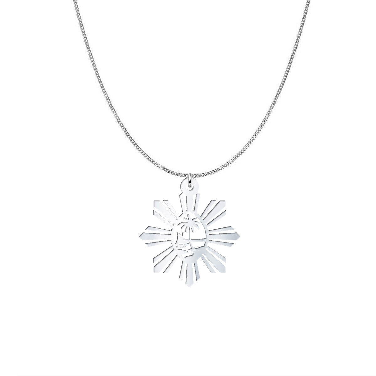 Guam Seal Philippines Sun Sterling Silver Necklace