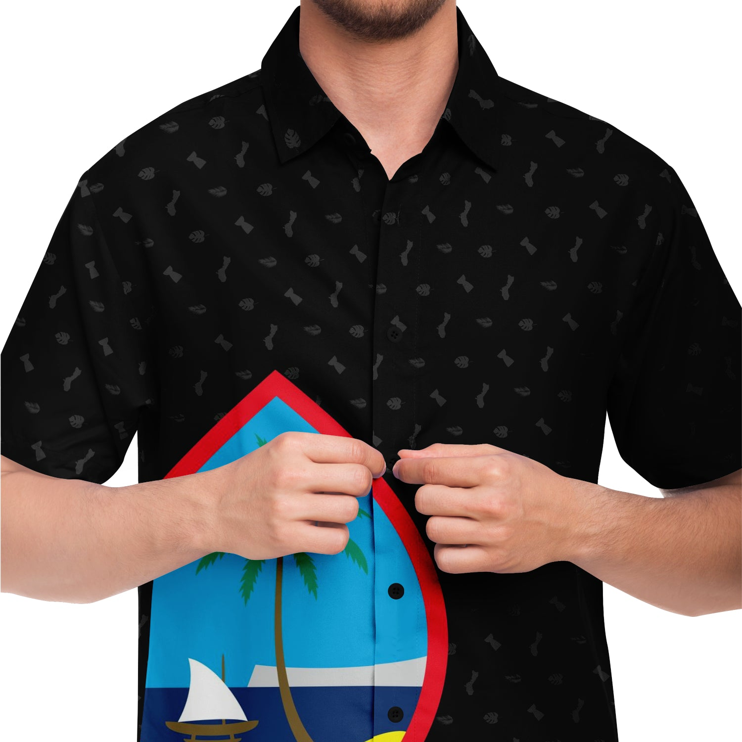 Guam Seal Black Button Down All Over Print Shirt