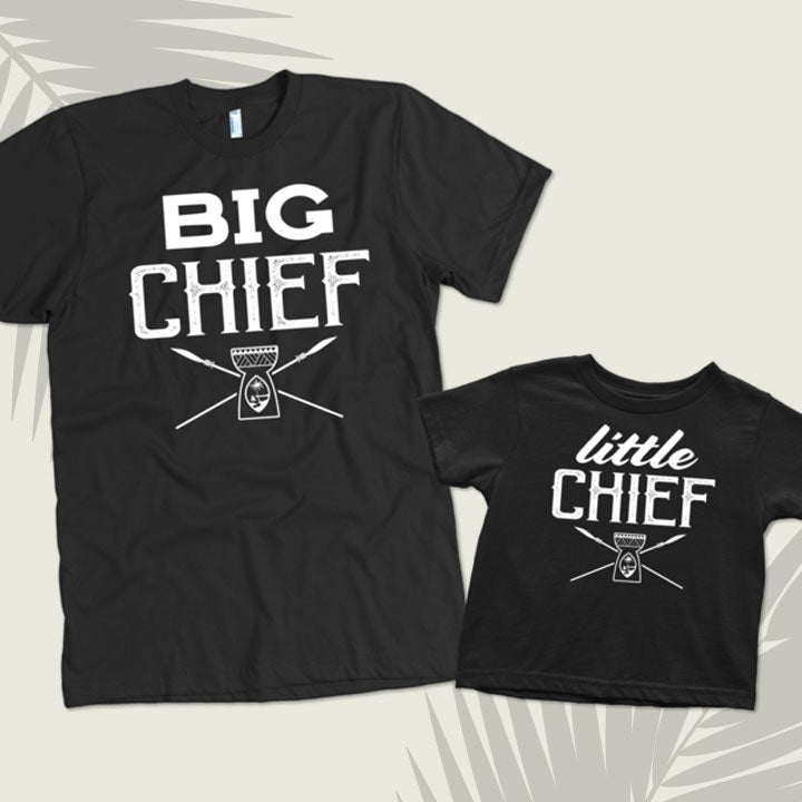 Big Chief Little Chief Guam Latte Stone Father Son Matching Shirts