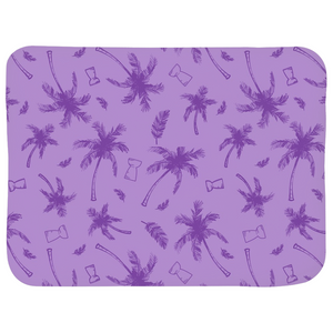 Latte Stone Coconut Trees Purple Sherpa Baby Blanket