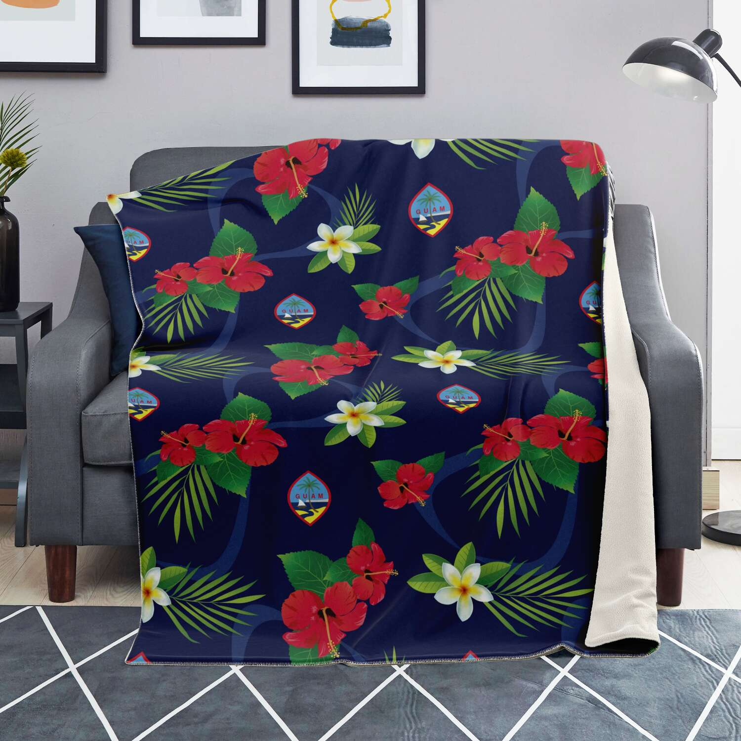 Guam Flag Flowers Microfleece Blanket