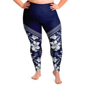 Guam Tribal Blue Hibiscus Curvy Leggings