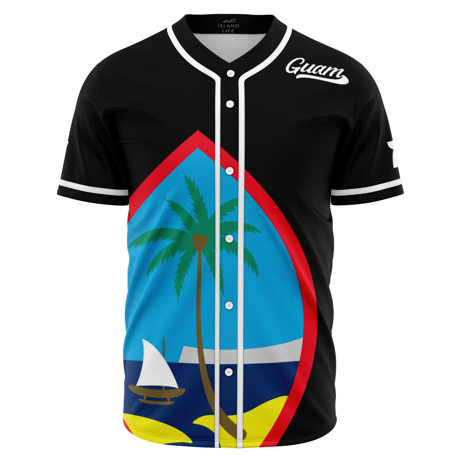 Guam Seal Black Baseball Jersey