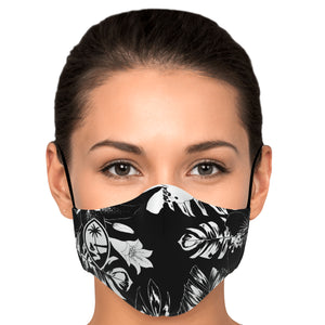 Guam Hibiscus Black Face Mask for Youth and Adults
