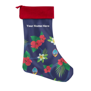 Guam Flag Flowers Christmas Stocking with Personalization