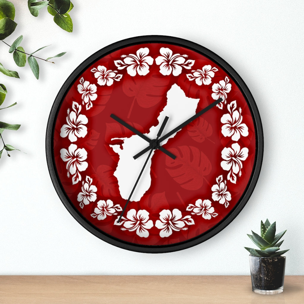 Guam Shape Red Hibiscus Wall Clock