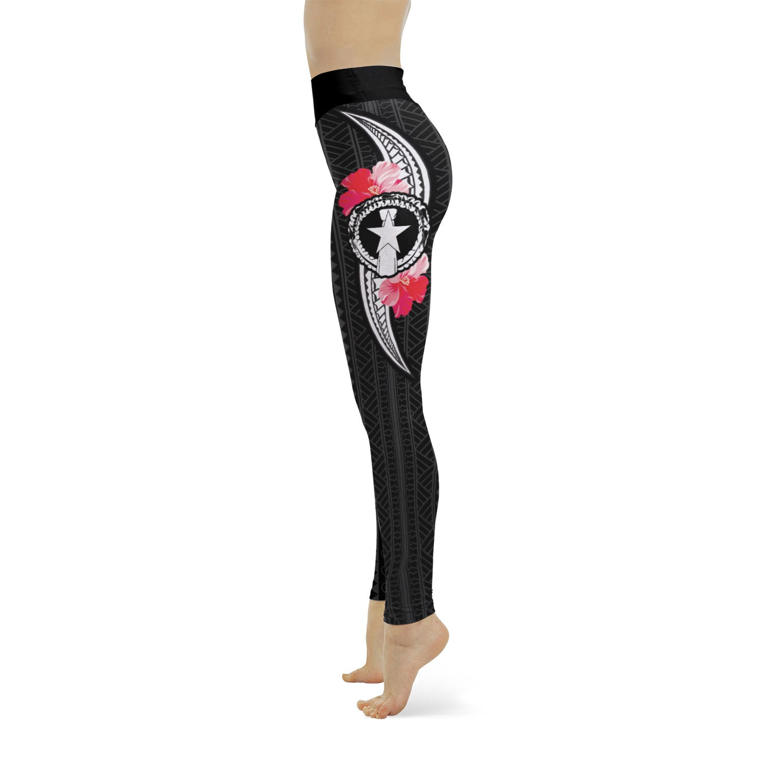 CNMI Tribal Red Hibiscus Yoga Leggings