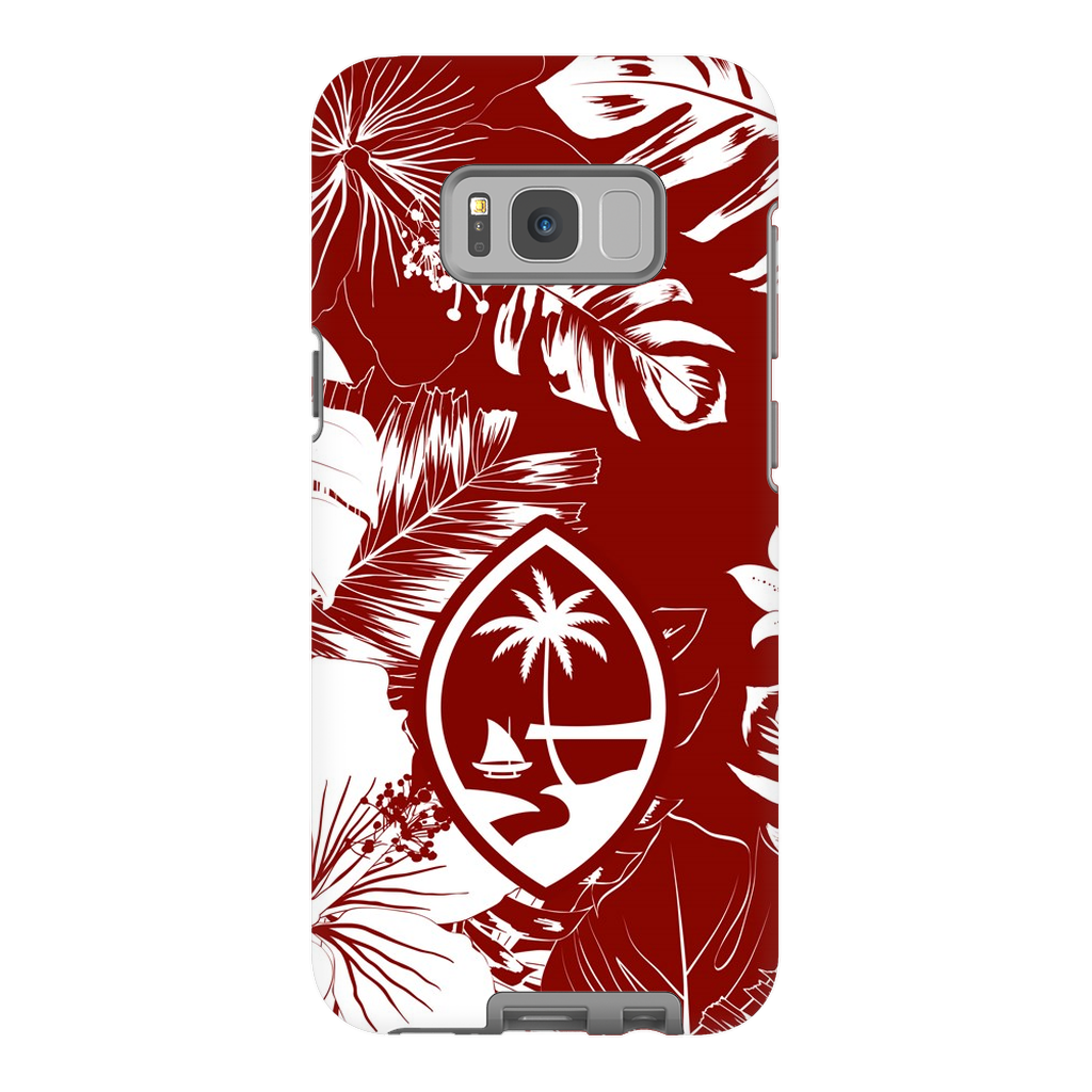 Guam Hibiscus Floral Red Premium Glossy Tough Phone Case