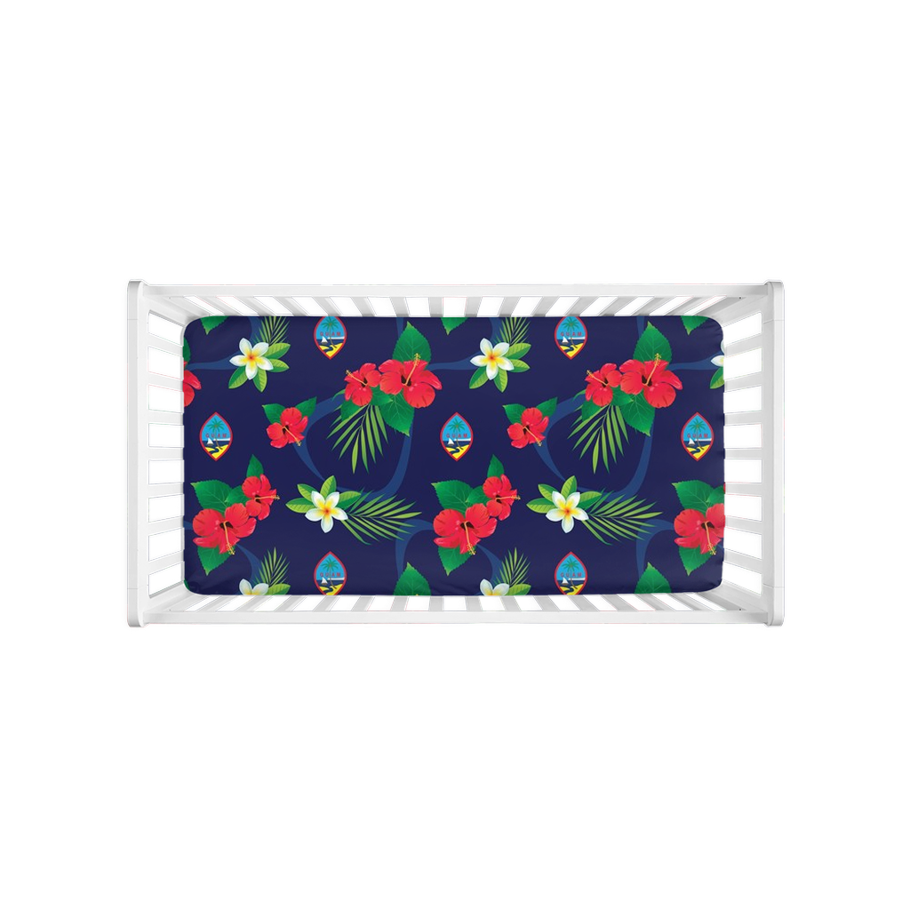 Guam Flag Flowers Baby Crib Sheet