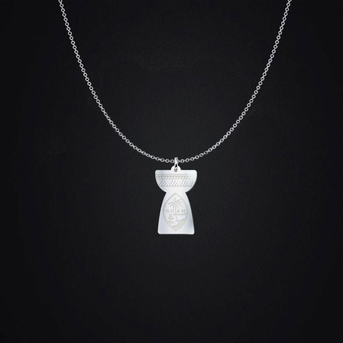 Latte Stone Guam Seal Engraved Sterling Silver Necklace