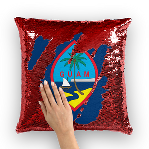 Guam Flag Pillow Sequin Cushion Cover