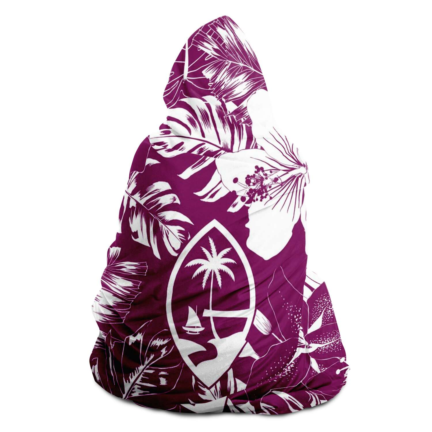 Guam Seal Purple Hibiscus Premium Sherpa Hooded Blanket