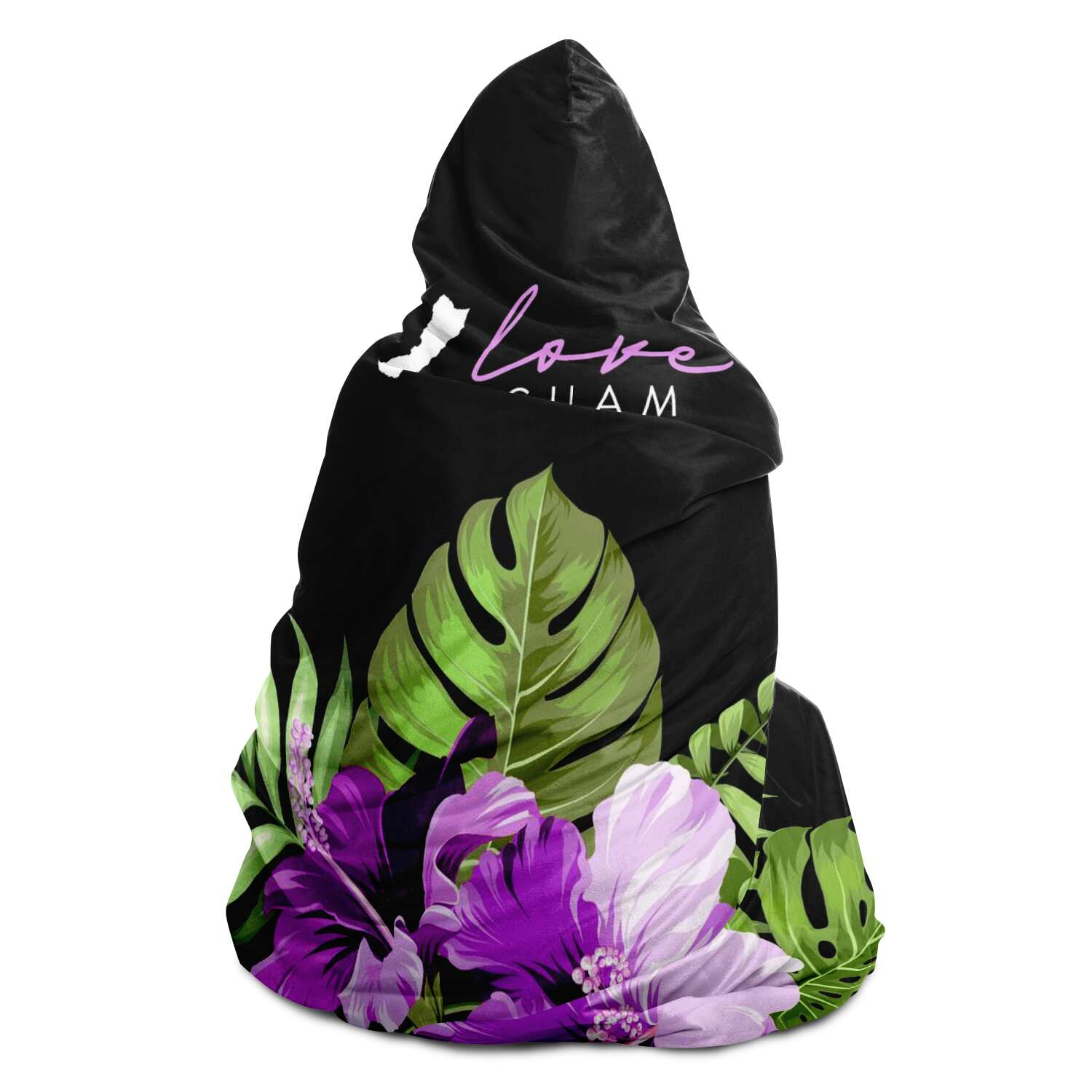 Love Guam Purple Hibiscus Premium Sherpa Hooded Blanket