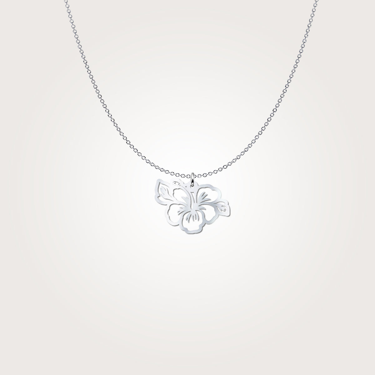 Hibiscus Cutout Sterling Silver Necklace
