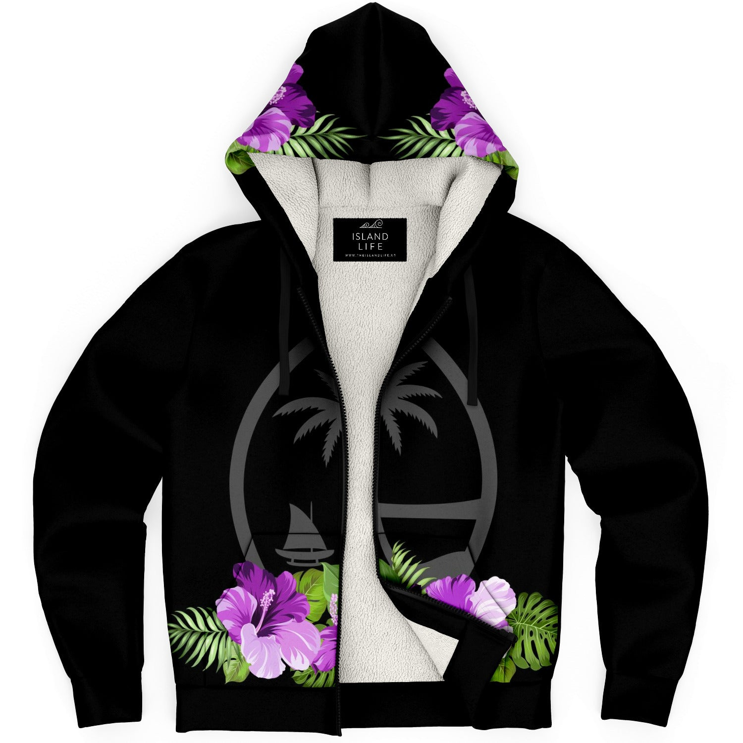 Guam Purple Hibiscus Black Microfleece Hoodie Jacket
