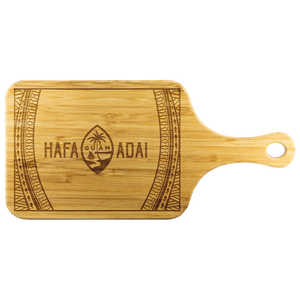 Hafa Adai Guam Seal Tribal Bamboo Cutting Board with Handle