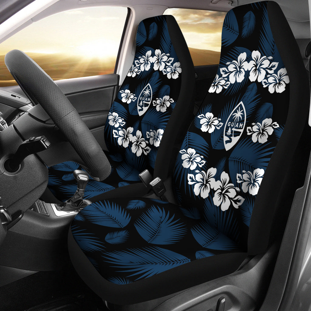 Guam Seal Navy Hibiscus Palm Leaves Car Seat Covers (Set of 2)
