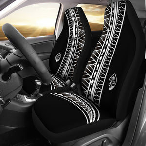 Guam Seal White Tribal Car Seat Covers (Set of 2)
