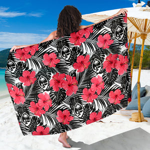 Guam Pink Black Hibiscus Coconut Leaves Sarong