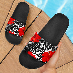 Guam Red Hibiscus Coconut Leaves Black Slide Sandals