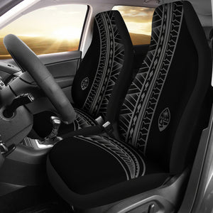 Guam Seal Gray Tribal Car Seat Covers (Set of 2)