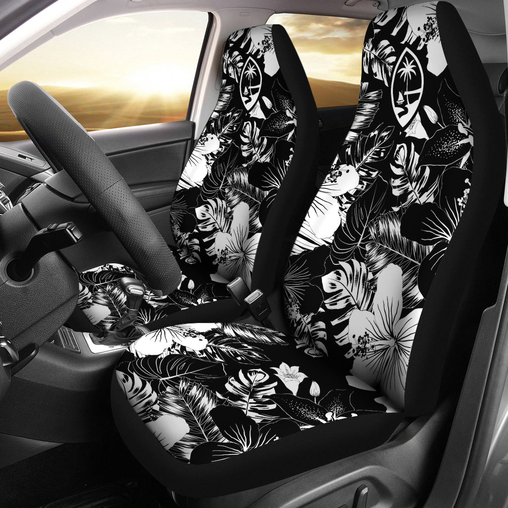 Guam Hibiscus Black Car Seat Covers (Set of 2)