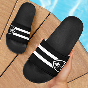 Guam Seal Striped Black Slide Sandals