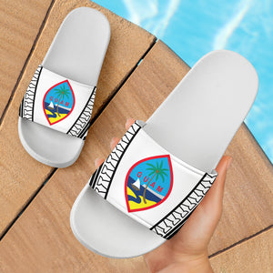 Guam Seal Tribal All White Slide Sandals