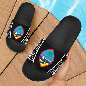 Guam Seal Tribal All Black Slide Sandals