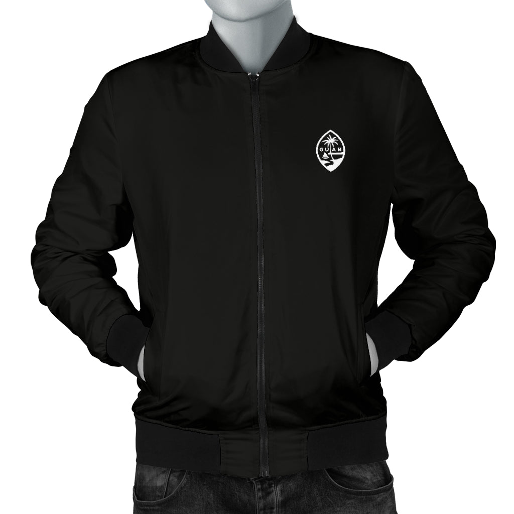 Guam Map Men's Black Bomber Jacket with Express Shipping