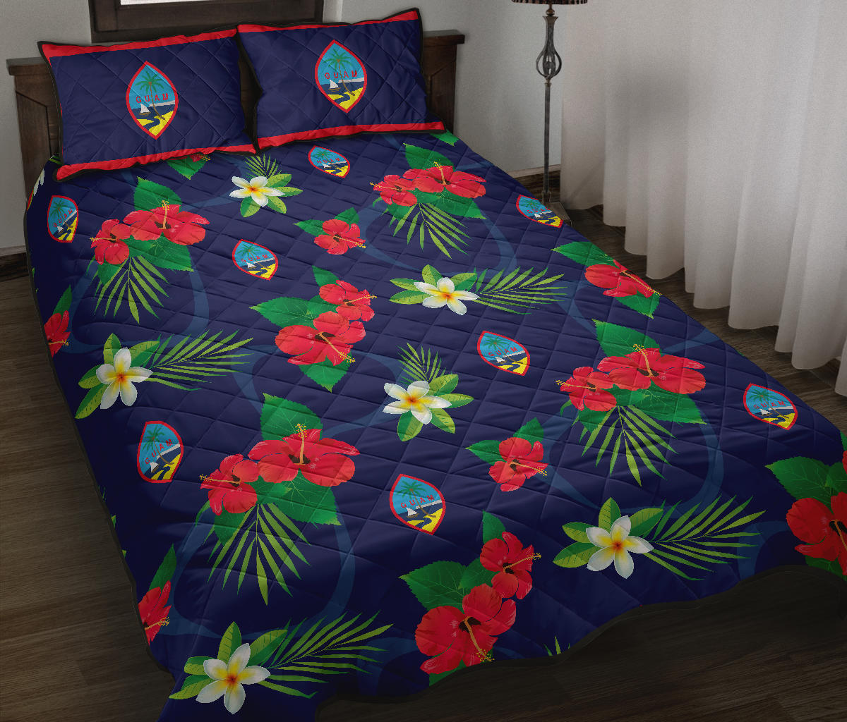 Guam Flag Flowers Quilt Bedding Set