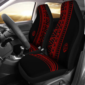 Guam Seal Red Tribal Car Seat Covers (Set of 2)