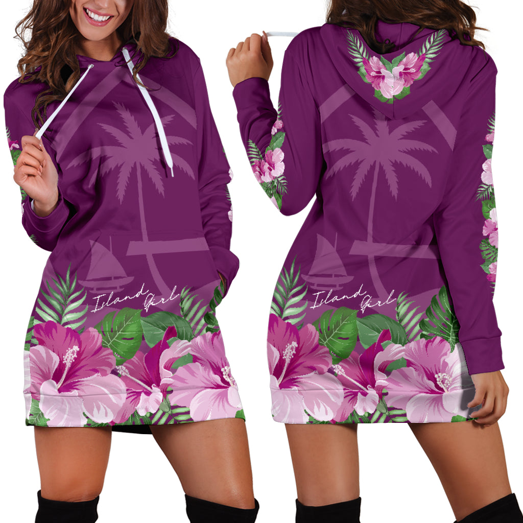 Guam Island Girl Hibiscus Purple Long Hoodie Dress with Express Shipping