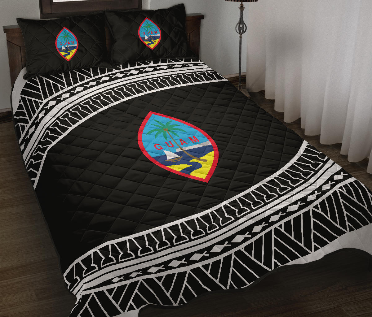 Guam Seal Tribal Black Quilt Bedding Set