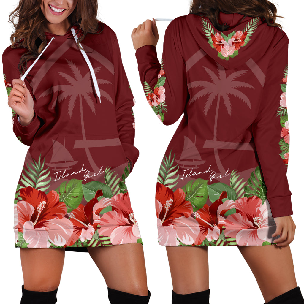 Guam Island Girl Hibiscus Maroon Long Hoodie Dress