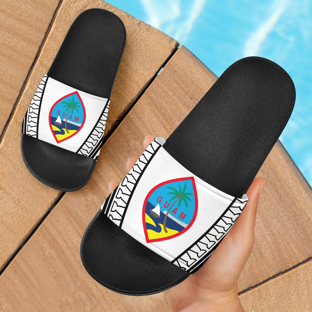 Guam Seal Tribal Black Slide Sandals