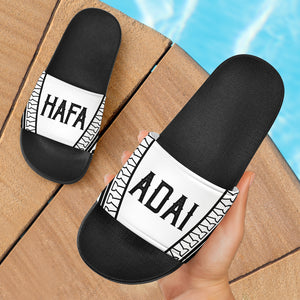 Hafa Adai Guam Saipan CNMI Tribal Black Slide Sandals
