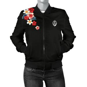 Guam Tropical Floral Over Shoulder Bomber Jacket