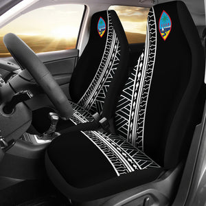 Guam Modern Tribal Black Car Seat Covers (Set of 2)