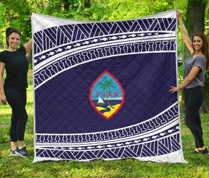 Guam Seal Tribal Blue Quilt