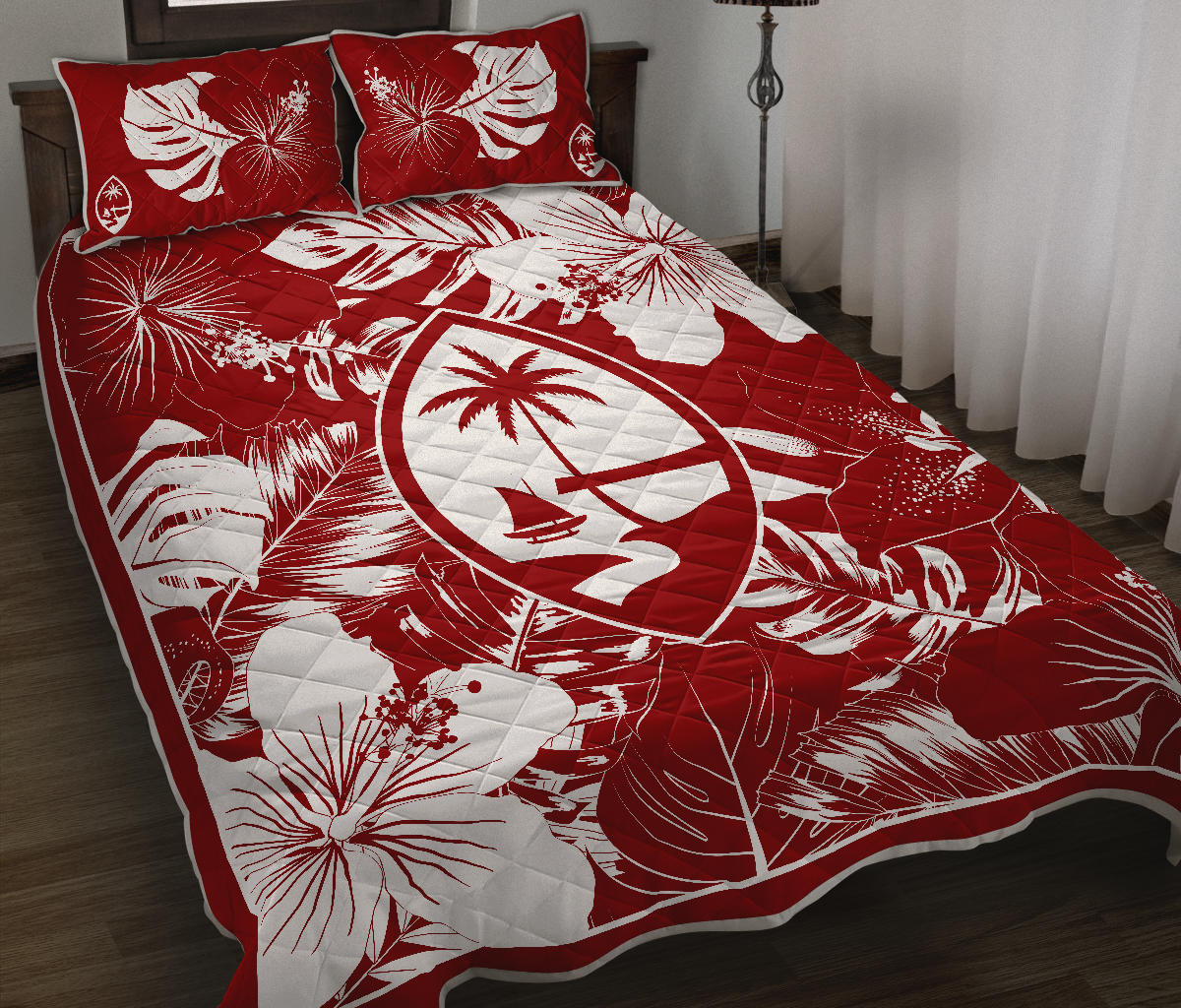 Guam Hibiscus Red Quilt Bedding Set