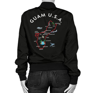 New Guam Map Striped Sleeves Women's Black Bomber Jacket