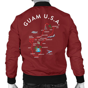New Guam Map Men's Maroon Bomber Jacket