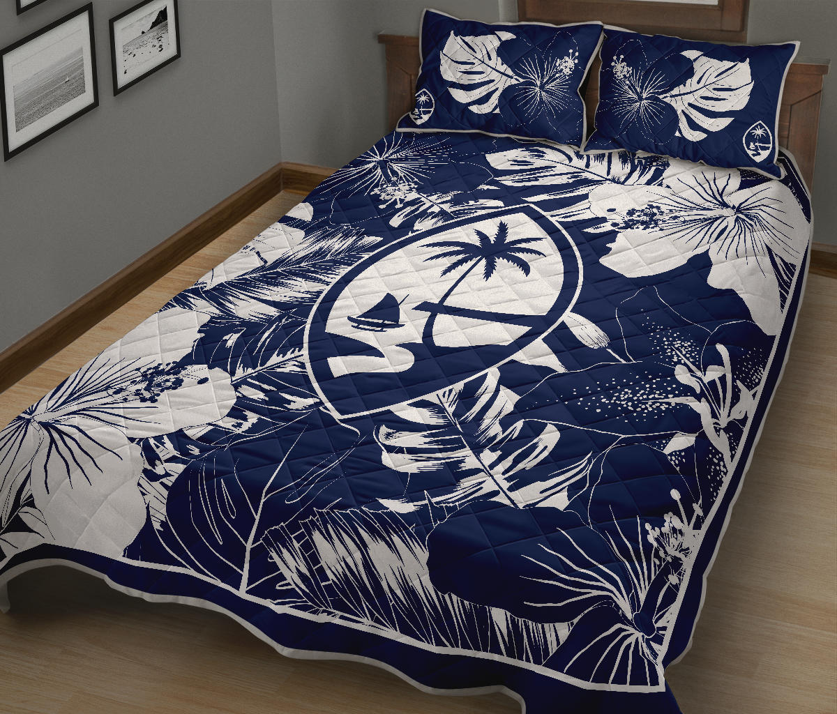 Guam Hibiscus Navy Blue Quilt Bedding Set