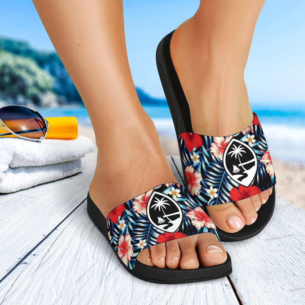 Guam Seal Tropical Floral Black Slide Sandals