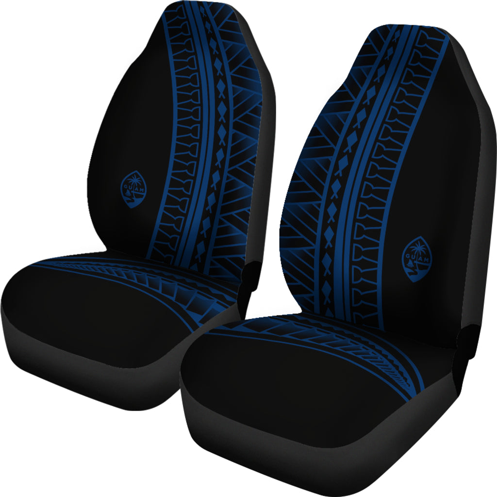 Guam Seal Blue Tribal Car Seat Covers (Set of 2)