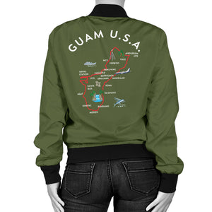 New Guam Map Women's Green Bomber Jacket