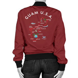 New Guam Map Women's Maroon Bomber Jacket